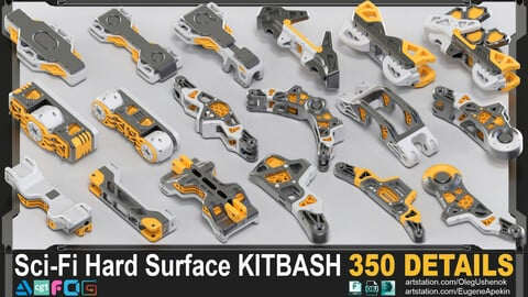 Sci-Fi Hard Surface KITBASH 350 DETAILS