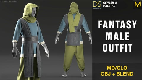 Fantasy male outfit.  MD/CLO + OBJ + BLEND