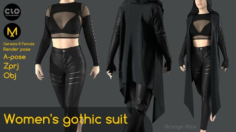 Women's gothic suit. Clo3d, Marvelous Designer projects.