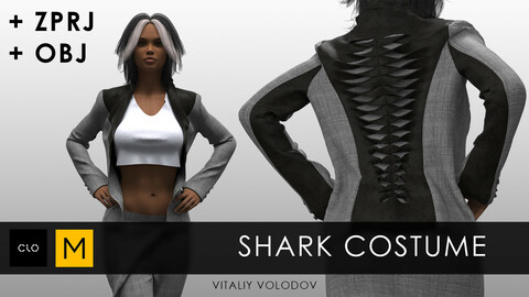 SHARK COSTUME  | Clo3d, Marvelous designer projects.