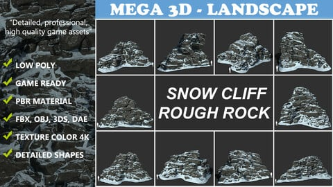 Low poly Snow Cliff Rough Rock 210404