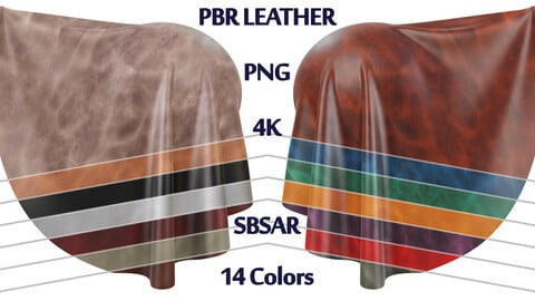 Leather PBR | 14 Colors | 4K | PNG