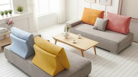 Perth Aquatex Living Waterproof Modular 3 Seater Fabric Sofa 2colors