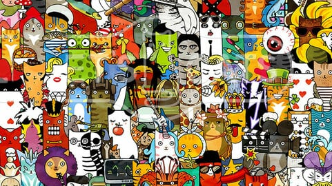 Let's Cats characters collage