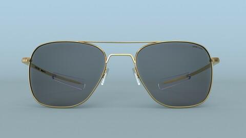 Sunglasses Randolph Aviator Gold Polarized 3D Model