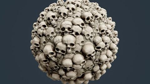 Skull Bones Horror Seamless PBR Texture 01