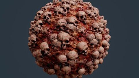 Skull Bones Horror Seamless PBR Texture 03