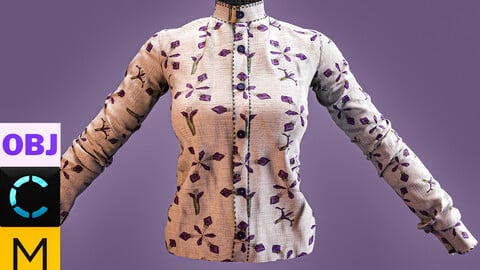 Marvelous designer + Clo3d + Obj : formal women's shirt