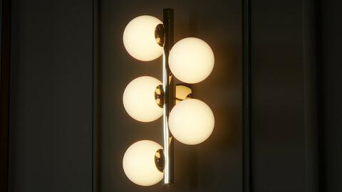 Contemporary Brass Sconces Opaline Glass Ball