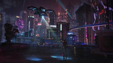 C4D Octane render Cyberpunk city Skyscrapers HUD robot airplane japan hongkong CBD building future