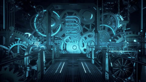 C4D Octane render Steampunk Gear Factory