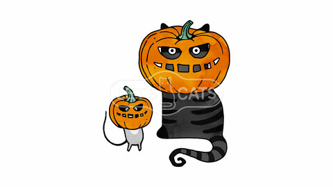 Pumpkin Cat and Mouse