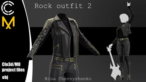 Rock outfit 2. Marvelous Designer/Clo3d project + OBJ.