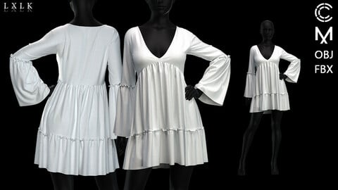 Women's White Ruffle Sun dress