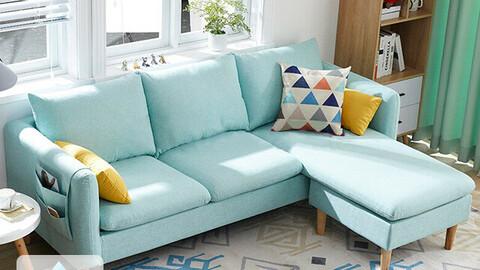 DK053 3-seat full cover gray water-repellent fabric sofa