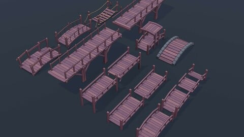 Stylized Low Poly Wooden Bridges Pack 01