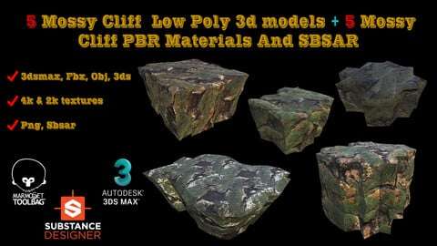 5 LOW POLY MOSSY CLIFF 3D MODELS + 5 MOSSY CLIFF  PBR MATERIALS AND SBSAR