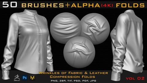 50 ZBrush Brush + Alpha (4K ) ,Fabric and Leather Compression Folds- Vol 02