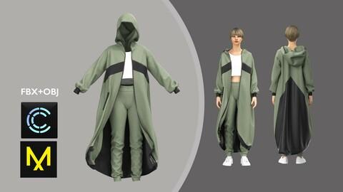 Women Sport Clothing. Hoodie set. Marvelous Designer/Clo3d project + OBJ + FBX