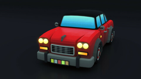 Cartoon Car Red Flame