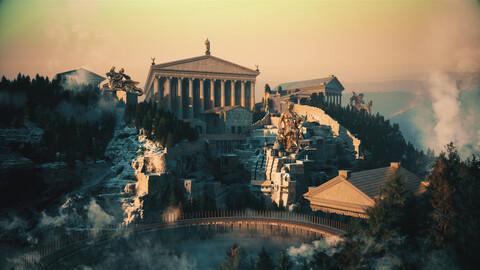 C4D Octane Roman Temple Temple Greek Mythology Norse Mythology Ragnarok