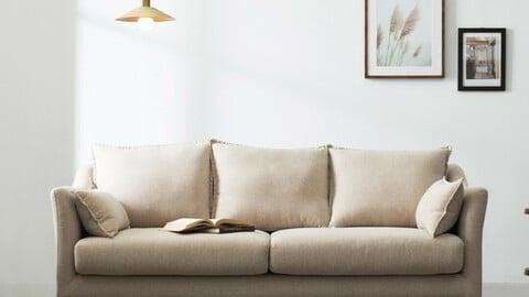 Cameron 3-seat style clean washable fabric sofa