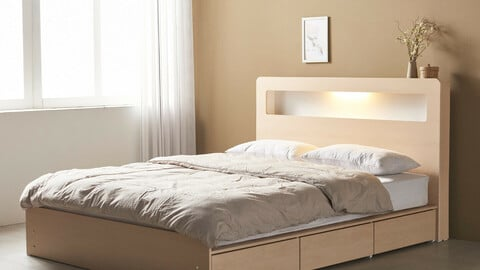 Beads LED 3-drawer storage bed (with mat) SSQ
