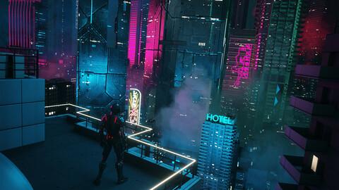 C4D Octane render CBD cyberpunk city SCIFI CITY Night city club