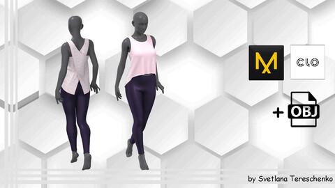 Female outfit. Blouse+Leggings