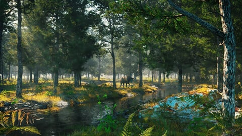 C4D Octane render Forest early morning tropical rainforest River elk scene