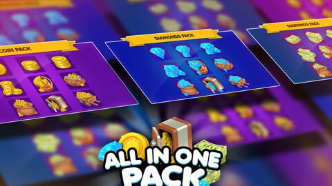 All in One Pack -  Coin Pack, Gems Pack, Money Pack
