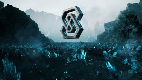 C4D OCTANE Aurora Mountain Crystal Ground Ore Scifi LOGO desert Cyberpunk