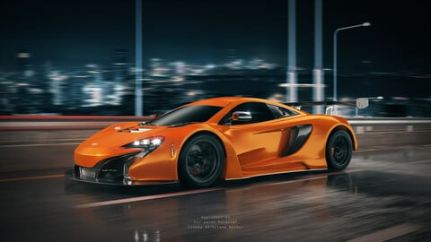 C4D Octane McLaren P1 render Highway racing city viaduct