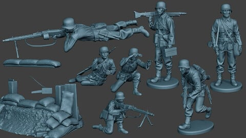German soldiers ww2 MG42 G7 Pack1