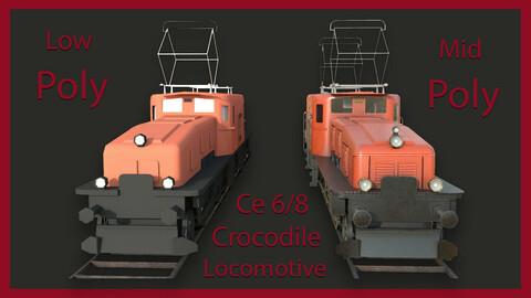 Crocodile Ce 6/8 Locomotive Train Model Low & Mid Poly - Game Ready 3D Asset