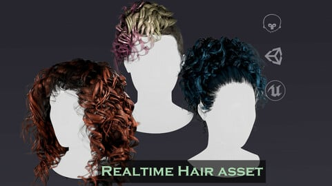 Realtime curly hair asset + 10 textures