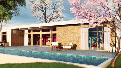 Exterior Modern House - UE4 | FBX | OBJ | MA | MB