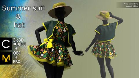 Summer suit and hat. Clo3D project, Marvelous Designer.