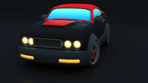 Cartoon Car Red Muscle