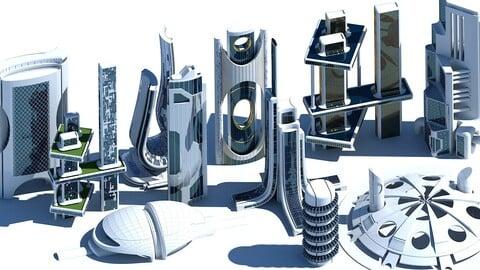 3D Futuristic Skyscraper collection 401