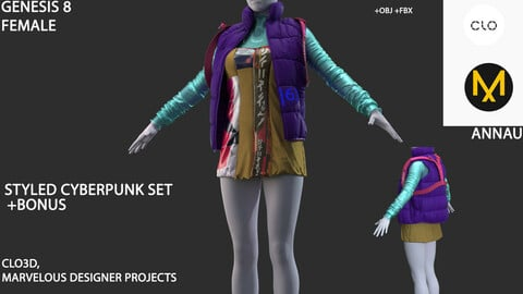 GENESIS 8 FEMALE: STYLED COLOR CYBERPUNK SET: CLO3D, MARVELOUS DESIGNER PROJECTS+| +OBJ +FBX