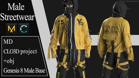 Male Streetwear №1. Marvelous Designer / Clo 3D project +obj