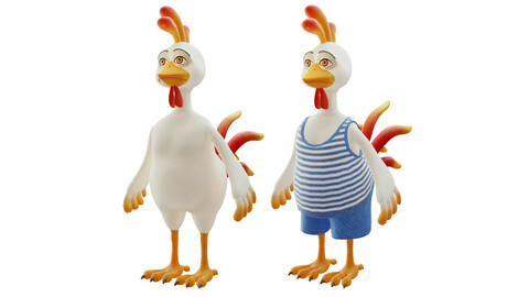 Cartoon rooster 3d character