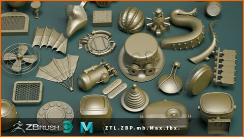 SteamPunk KITBASH - 75 IMM ZBrush + Max - Maya Files