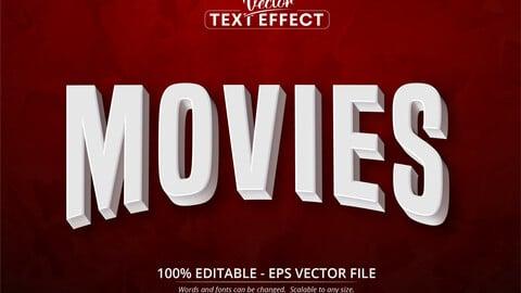 Movies text, 3d white movie style editable text effect