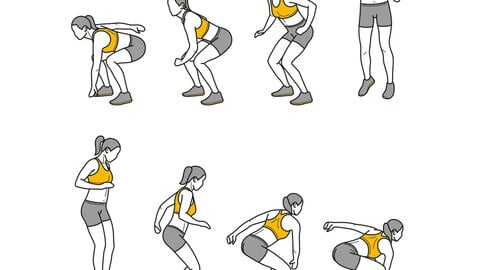 180+ fitness exercise gif animation simple line illustration pack