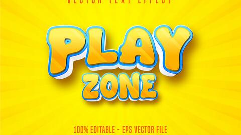 Play zone text, cartoon style editable text effect