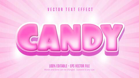 Candy text, cartoon style editable text effect