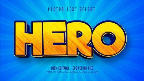 Hero text, cartoon style editable text effect