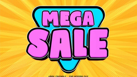 Mega sale text, shopping style editable text effect